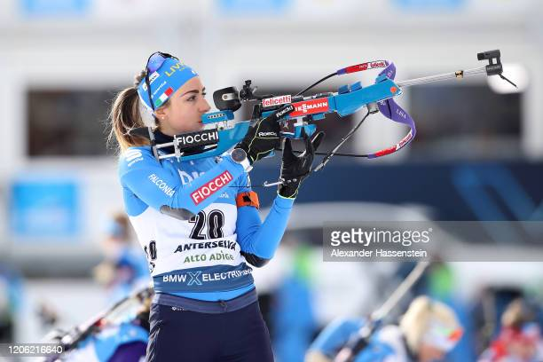 Lisa Vittozzi of Italy competes at the zeoring for the Women 7.5 km Sprint Competition at the IBU World Championships Biathlon Antholz-Anterselva on...