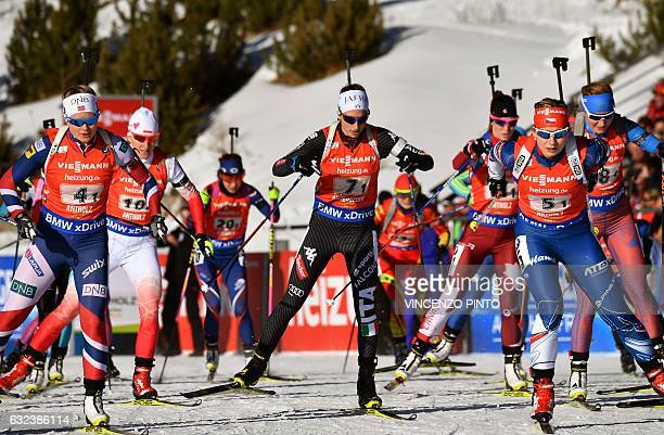 Lisa Vittozzi of Italy competes during the Biathlon World Cup Women's 4x6 km relay race in Anterselva on January 22 2017 Germany won the race ahead...