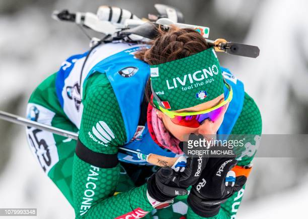 Lisa Vittozzi of Italy competes to win the Women's 7.5km Sprint event at IBU Biathlon World Cup in Oberhof, Germany, on January 10, 2019. - The...