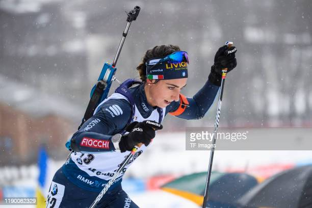 Lisa Vittozzi of Italy in action competes during the Women 12.5 km Mass Start Competition at the BMW IBU World Cup Biathlon Le Grand Bornand at on...