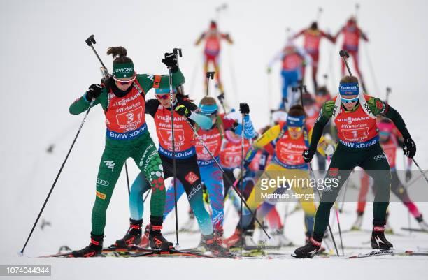 Lisa Vittozzi of Italy leads the field in the IBU Biathlon World Cup Women's 4x6 km Relay on December 16, 2018 in Hochfilzen, Austria.