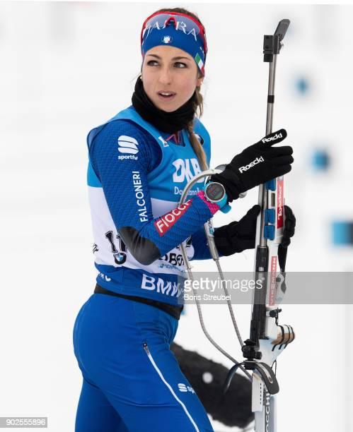 Lisa Vittozzi of Italy looks on prior to the 7.5 km IBU World Cup Biathlon Oberhof women's Sprint on January 4, 2018 in Oberhof, Germany.