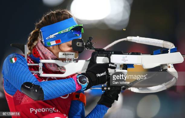 Lisa Vittozzi of Italy practices prior to the Biathlon 2x6km Women 2x75km Men Mixed Relay on day 11 of the PyeongChang 2018 Winter Olympic Games at...