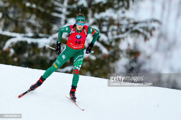 Lisa Vittozzi takes 2nd place during the IBU Biathlon World Cup Women's Sprint on January 17, 2019 in Ruhpolding, Germany.