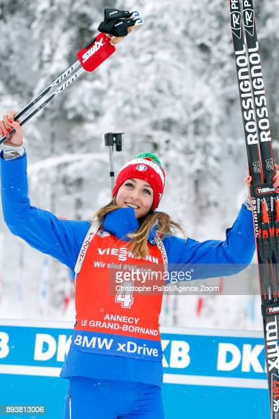 Lisa Vittozzi takes 3rd place during the IBU Biathlon World Cup Men's and Women's Pursuit on December 16, 2017 in Le Grand Bornand, France.