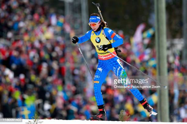 Lisa Vittozzi wins the silver medal during the IBU Biathlon World Championships Women's 15km on March 12, 2019 in Oestersund, Sweden.