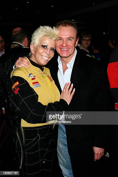 Lisa Voice and Bobby Davro during GoKarting Extravaganza Hosted by Rick Parfitt Jr at Kings Cross GoKart Track in London Great Britain