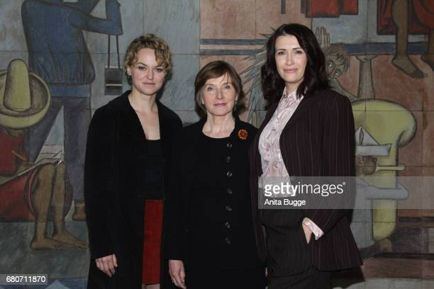 Lisa Wagner Ruth Reinecke and Claudia Mehnert attend the photo call for the new season of the television show 'Weissensee' on May 9 2017 in Berlin...