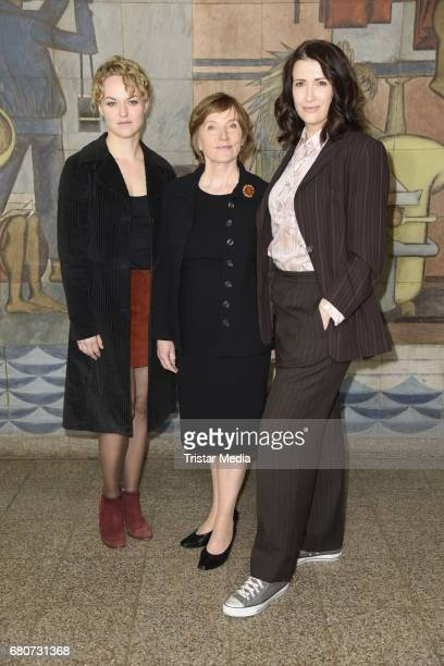 Lisa Wagner Ruth Reinicke and Claudia Mehnert attend the photo call for the new season of the television show 'Weissensee' on May 9 2017 in Berlin...