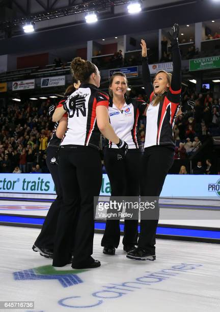 Lisa Weagle Joanne Courtney Emma Miskew and Rachel Homan of Ontario celebrate victory in the Gold Medal match against Manitoba during the 2017...