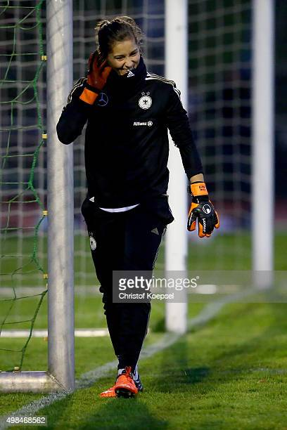 Lisa Weiss attends a training session ahead of the friendly match between Women's Germany Team and Women's England team at Training Ground Ueberruhr...