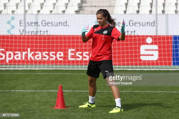 Lisa Weiss during a general view behind the scenes of the Allianz Frauen Bundesliga Club Tour of of SGS Essen at Zeche Zollverein on August 22 2017...