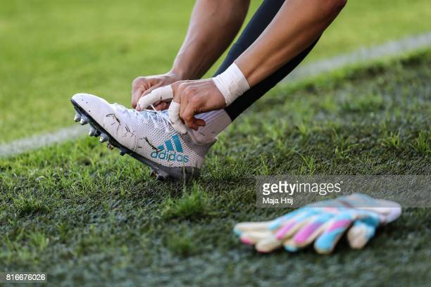 Lisa Weiss of Germany tights her shoe prior the Group B match between Germany and Sweden during the UEFA Women's Euro 2017 at Rat Verlegh Stadion on...