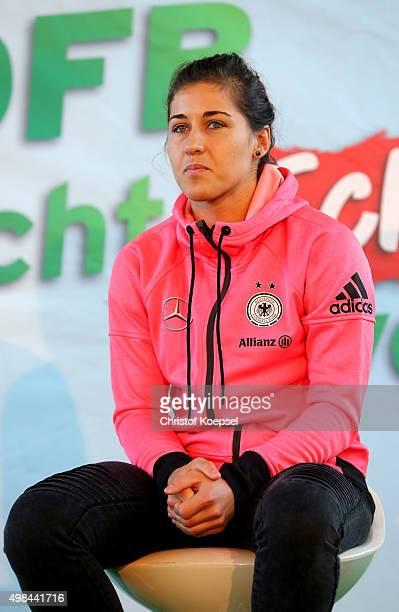 Lisa Weiss of Germany Women's Football Team speaks to the school children during her visit of the Gemeinschaftsgrundschule Lauenburger Allee on...