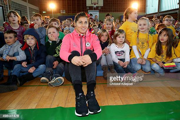 Lisa Weiss of Germany Women's Football Team visits the Gemeinschaftsgrundschule Lauenburger Allee on November 23 2015 in Duisburg Germany