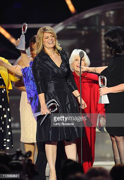 """Lisa Whelchel, Charlotte Rae, and Nancy McKeon of the cast of """"The Facts Of Life"""" accept the Pop Culture Award onstage at the 9th Annual TV Land..."""