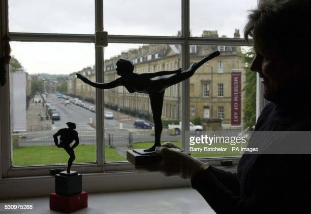 Lisa White Curator of Decorative Arts at Holburne Museum of Art Great Pulteney Street Bath holds a bronze by Edgar Degas titled Arabesque Sur La...