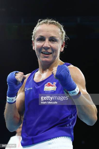 Lisa Whiteside of England poses after winning her Women's Fly 4851kg Semifinal bout against Taylah Robertson of Australia during Boxing on day nine...
