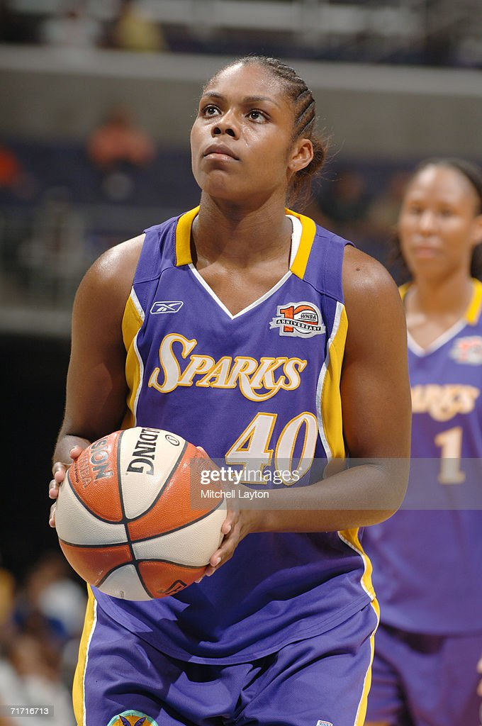 Lisa Willis #40 of the Los Angeles Sparks shoots a free throw against the Washington Mystics during the game on August 1, 2006 at MCI Center in Washington, D.C. The Mystics won 84-74.