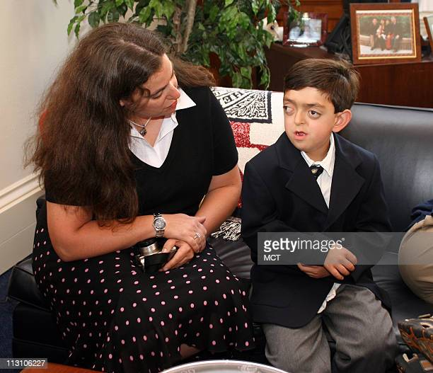 WASHINGTON DC Lisa Wise talks with her son Michael Weiner as they meet with Rep Anna Eshoo in her office on Capitol Hill on Wednesday June 23 2005...