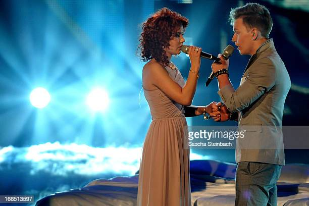 Lisa Wohlgemuth and Erwin Kintop hold hands during the rehearsal of the fifth 'Deutschland Sucht Den Superstar' Show at Coloneum on April 13 2013 in...
