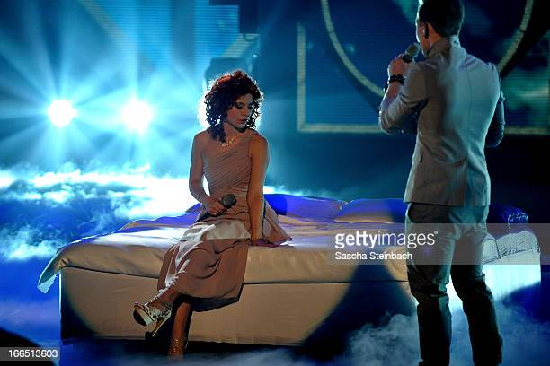 Lisa Wohlgemuth and Erwin Kintop perform during the rehearsal of the fifth 'Deutschland Sucht Den Superstar' Show at Coloneum on April 13 2013 in...
