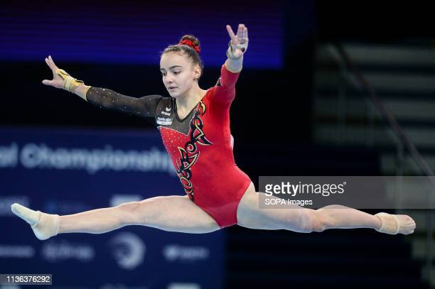 Lisa Zimmermann from Germany seen in action during the women qualifications of the 8th European Championships in Artistic Gymnastics
