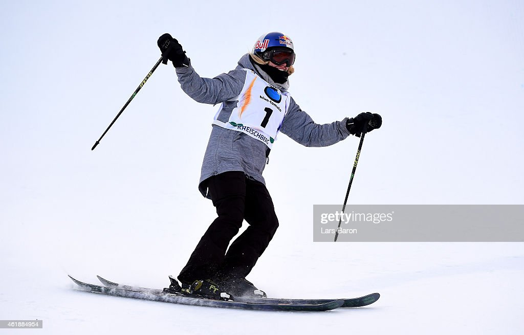 Lisa Zimmermann of Germany celebrates after winning the Women's Freestyle Skiing Slopestyle Final of the FIS Freestyle Ski and Snowboard World Championships 2015 on January 21, 2015 in Kreischberg, Austria.