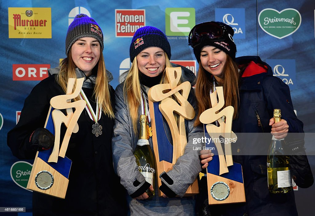 Lisa Zimmermann of Germany celebrates with Katie Summerhayes of Great Britain and Zuzana Stromkova of Slovakia after winning the Women's Freestyle Skiing Slopestyle Final of the FIS Freestyle Ski and Snowboard World Championships 2015 on January 21, 2015 in Kreischberg, Austria.