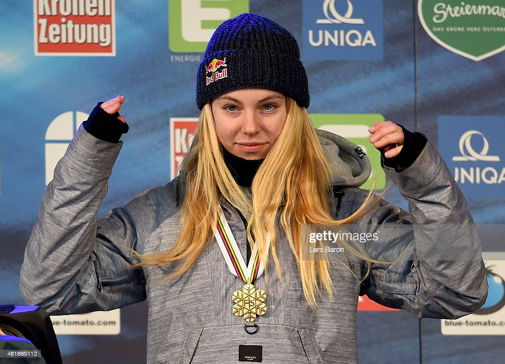 Lisa Zimmermann of Germany celebrates with the gold medal after winning the Women's Freestyle Skiing Slopestyle Final of the FIS Freestyle Ski and Snowboard World Championships 2015 on January 21, 2015 in Kreischberg, Austria.