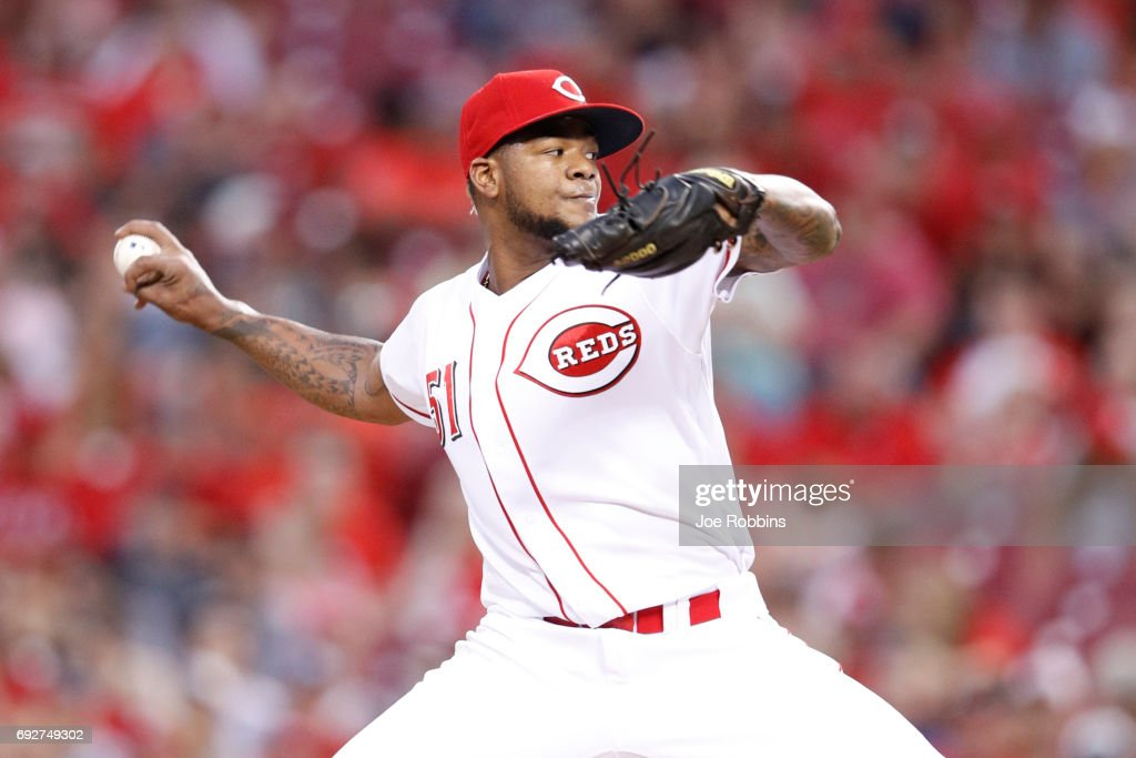 Lisalverto Bonilla #51 of the Cincinnati Reds pitches in the seventh inning of a game against the St. Louis Cardinals at Great American Ball Park on June 5, 2017 in Cincinnati, Ohio. The Reds defeated the Cardinals 4-2.