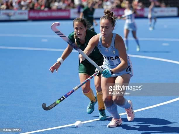 LisaMarie Deetlefs of South Africa puts pressure on Julieta Jankunas of Argentina during the Pool C game between Argentina and South Africa of the...