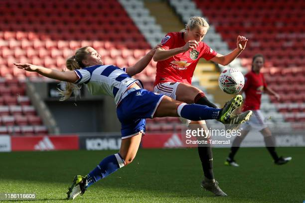 LisaMarie Karlseng of Reading Women FC is challenged by Millie Turner of Manchester United Women during the Barclays FA Women's Super League match...
