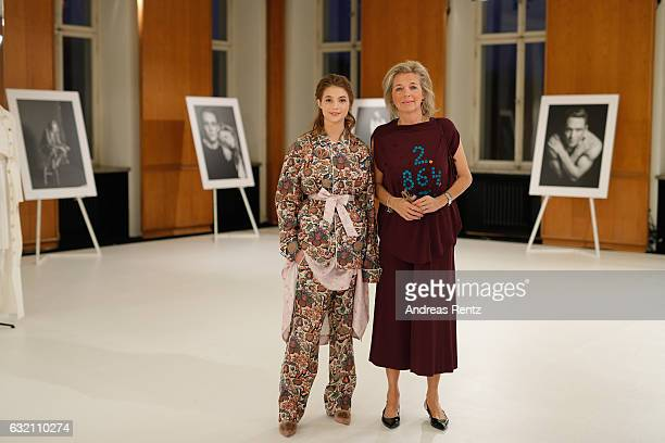 Lisa-Marie Koroll and Inga Griese attend the 'Icons in Fashion' vernissage during the Der Berliner Mode Salon A/W 2017 at Kronprinzenpalais on...