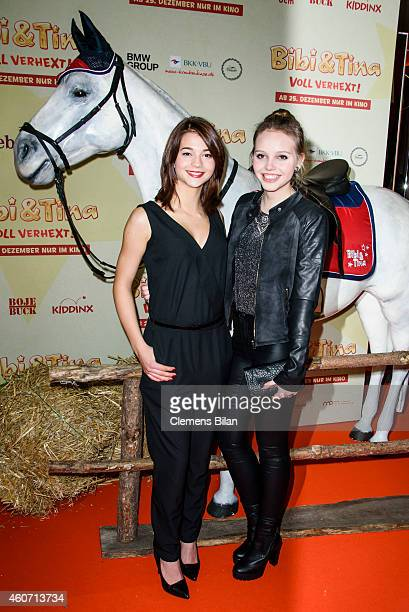 Lisa-Marie Koroll and Lina Larissa Strahl attend the Berlin premiere of the film 'Bibi & Tina - Voll verhext!' at Zoo Palast on December 20, 2014 in...