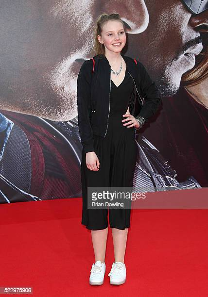 LisaMarie Koroll arrives at the Berlin premiere of the film 'The First Avenger Civil War' at Sony Centre on April 21 2016 in Berlin Germany