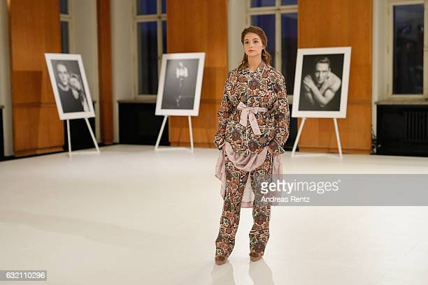 Lisa-Marie Koroll attends the 'Icons in Fashion' vernissage during the Der Berliner Mode Salon A/W 2017 at Kronprinzenpalais on January 19, 2017 in...