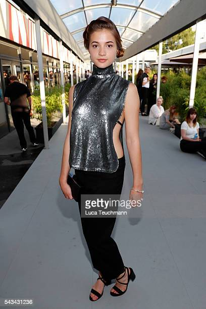 LisaMarie Koroll attends the Riani show during the MercedesBenz Fashion Week Berlin Spring/Summer 2017 at Erika Hess Eisstadion on June 28 2016 in...