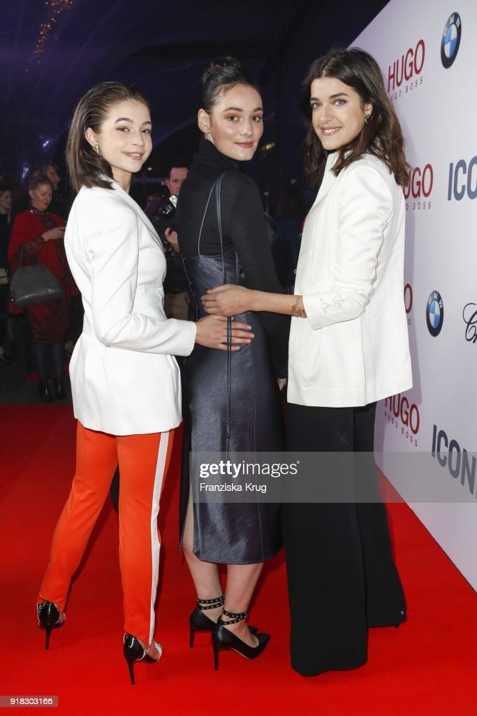 Lisa-Marie Koroll, Maria Ehrich and Marie Nasemann attend the Young ICONs Award in cooperation with ICONIST at Spindler&Klatt on February 14, 2018 in Berlin, Germany.