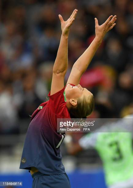 LisaMarie Utland of Norway celebrates after scoring her team's second goal during the 2019 FIFA Women's World Cup France group A match between Norway...