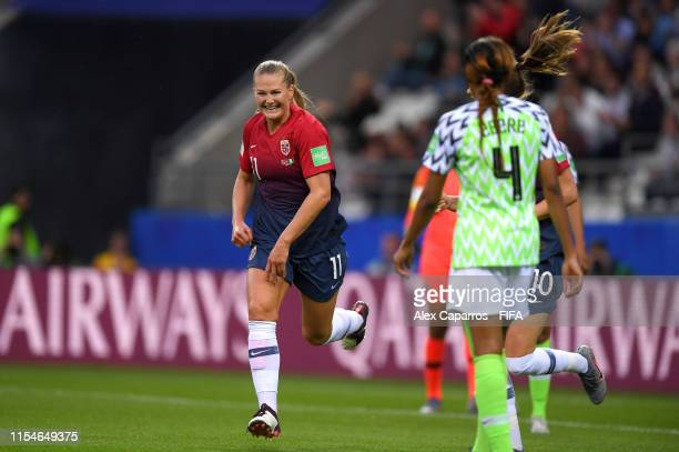 LisaMarie Utland of Norway celebrates her side's third goal after Osinachi Ohale of Nigeria scores an own goal during the 2019 FIFA Women's World Cup...