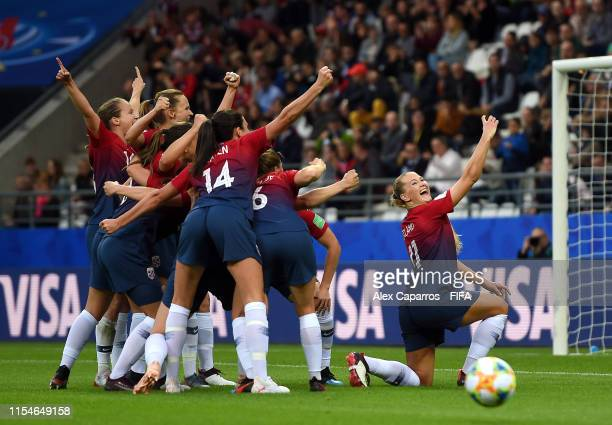 Lisa-Marie Utland of Norway celebrates with teammates after scoring her team's second goal during the 2019 FIFA Women's World Cup France group A...