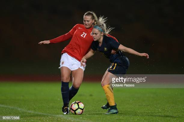 LisaMarie Utland of Norway competes for the ball with Ellie Carpenter of Australia during the Women's Algarve Cup Tournament match between Norway and...