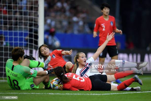 LisaMarie Utland of Norway reacts during the 2019 FIFA Women's World Cup France group A match between Korea Republic and Norway at Stade Auguste...