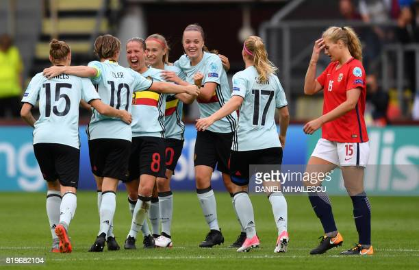 LisaMarie Utland of Norway reacts next to Belgium's players at the end of the UEFA Women's Euro 2017 football match between Norway and Belgium at the...