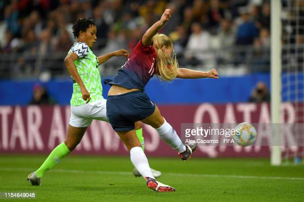 LisaMarie Utland of Norway scores her team's second goal during the 2019 FIFA Women's World Cup France group A match between Norway and Nigeria at...
