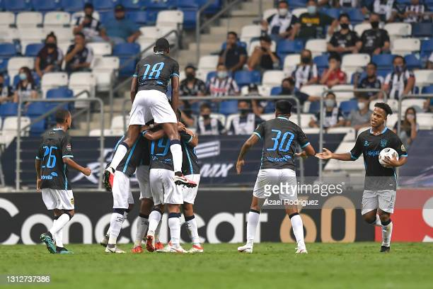 Lisandro Cabrera of Atlético Pantoja celebrates with teammates after scoring his team's first goal during a second leg match between Monterrey and...