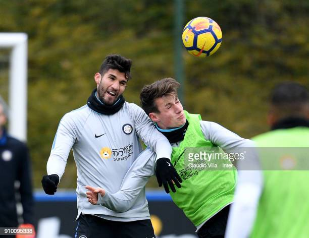 Lisandro Ezequiel Lopez and Andrea Pinamonti compete for the ball during the FC Internazionale training session at Suning Training Center at Appiano...