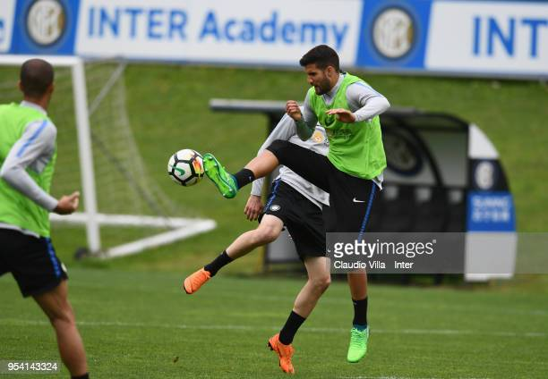 Lisandro Lopez of FC Internazionale in action during the FC Internazionale training session at the club's training ground Suning Training Center in...