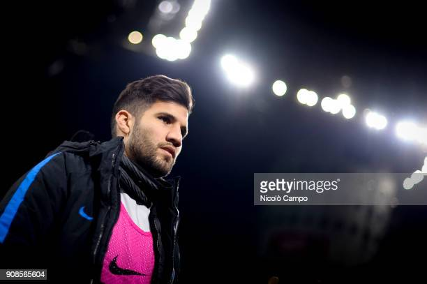 Lisandro Lopez of FC Internazionale looks on prior to the Serie A football match between FC Internazionale and AS Roma The match ended in a 11 tie